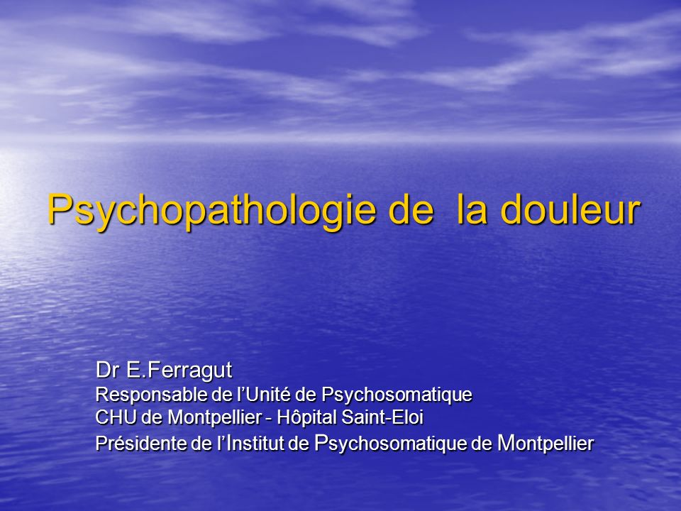 Psychopathologie de la douleur .PDF