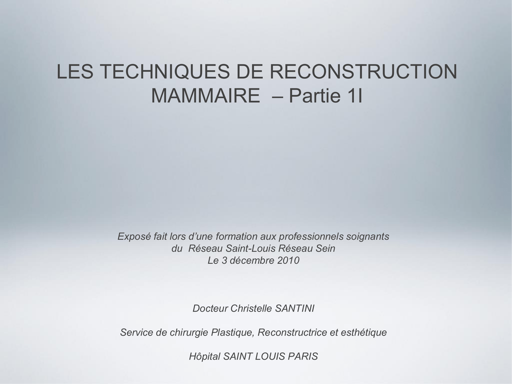 LES TECHNIQUES DE RECONSTRUCTION MAMMAIRE .PDF