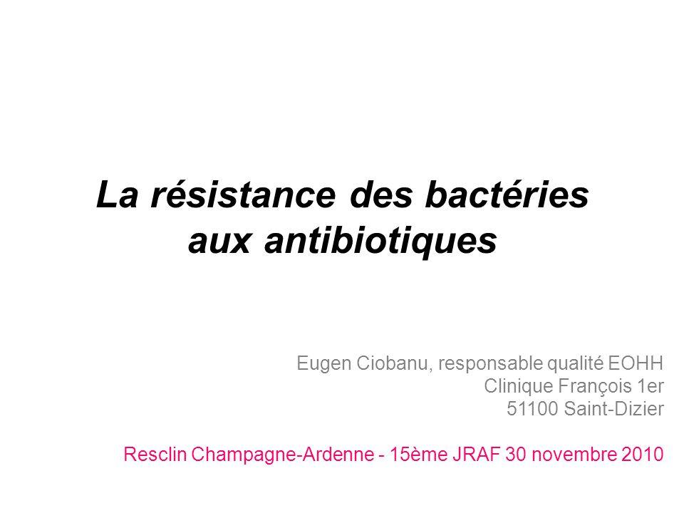 La résistance des bactéries aux antibiotiques .PDF