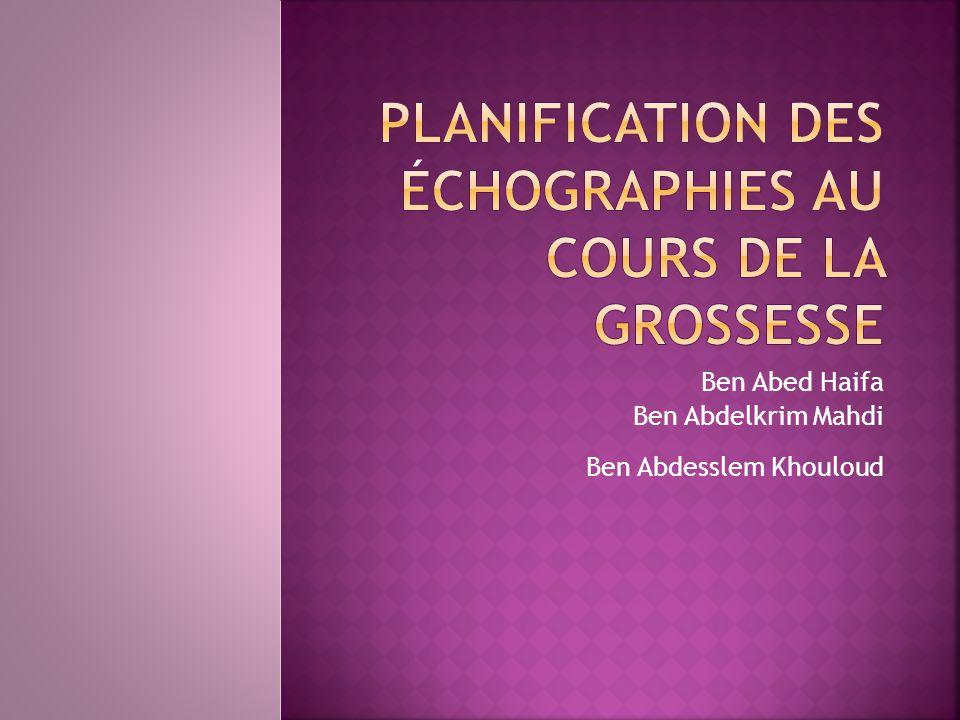 Planification des échographies au cours de la grossesse .PDF