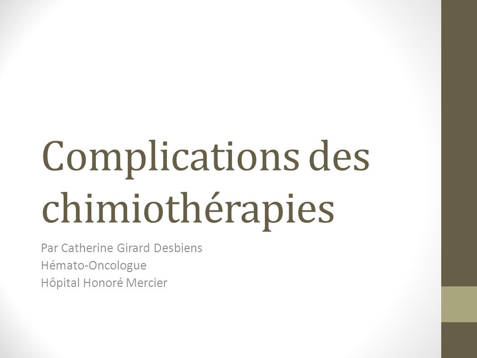 Complications des chimiothérapies .PDF