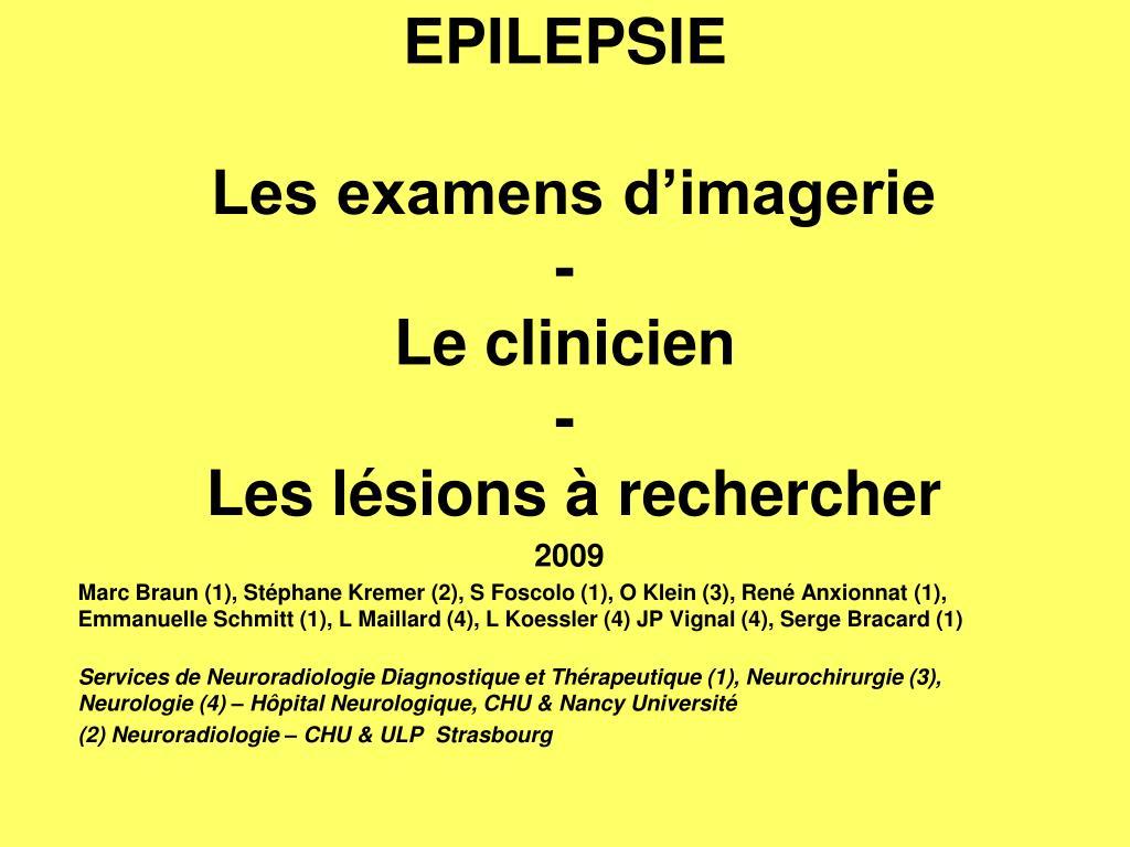 EPILEPSIE Les examens d'imagerie .PDF