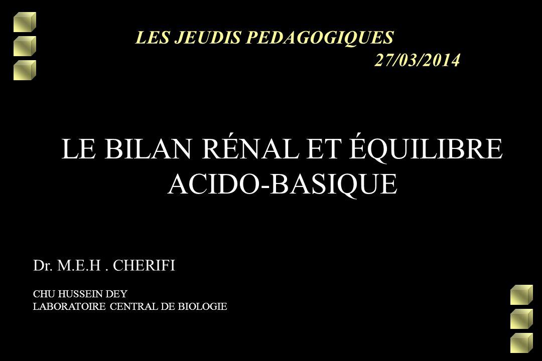 LE BILAN RÉNAL ET ÉQUILIBRE ACIDO-BASIQUE.QCM (PDF)