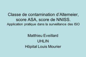 Classe de contamination d'Altemeier, score ASA, score de NNISS .PDF