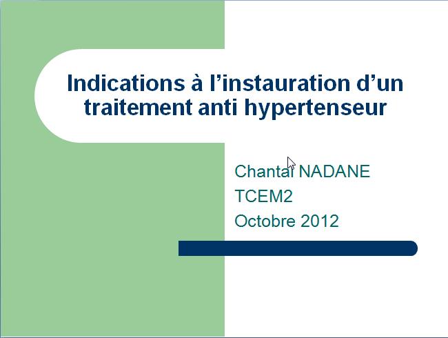 Indications à l'instauration d'un traitement anti hypertenseur .PDF