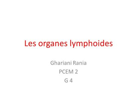 Les organes lymphoides .PDF