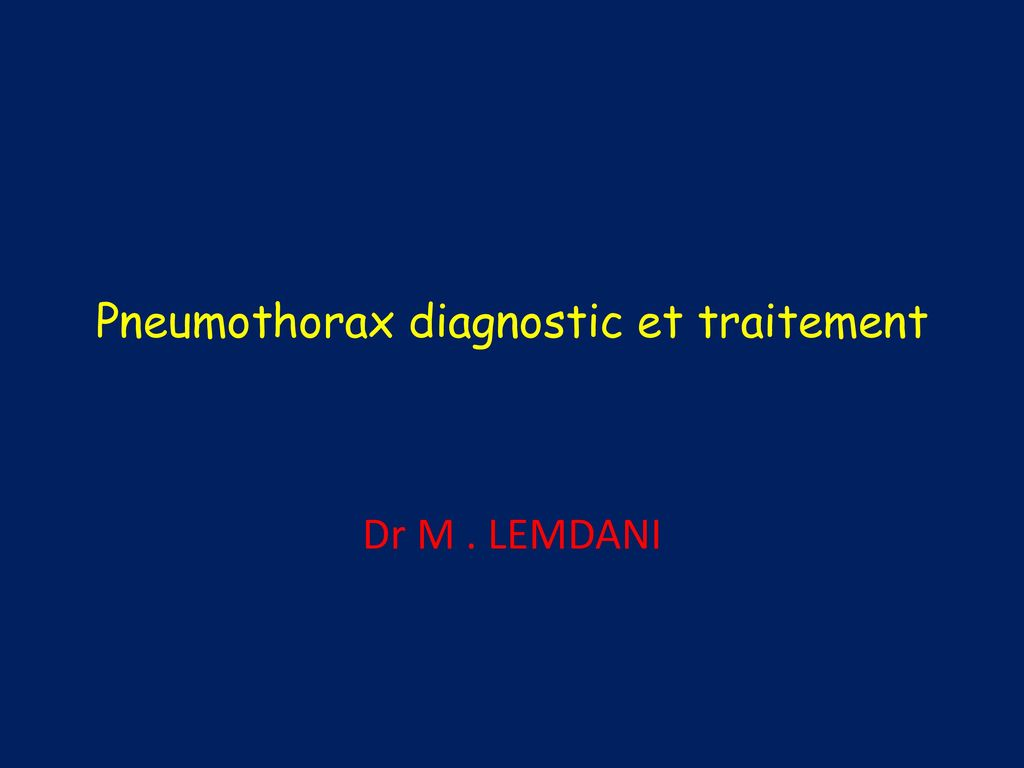 Pneumothorax diagnostic et traitement .PDF