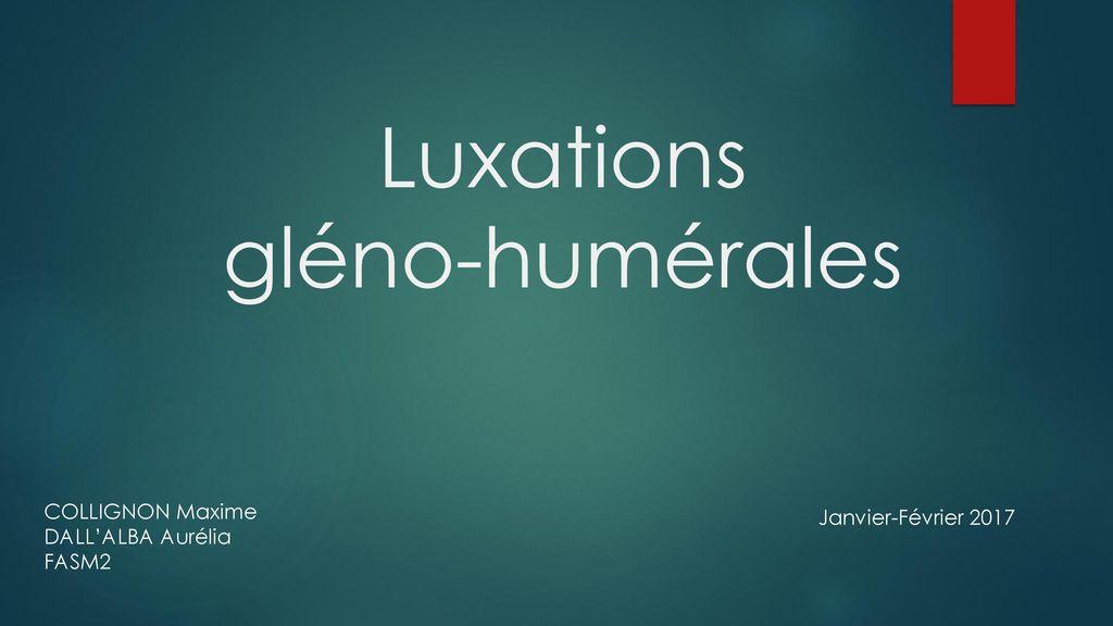 Luxations gléno-humérales .PDF