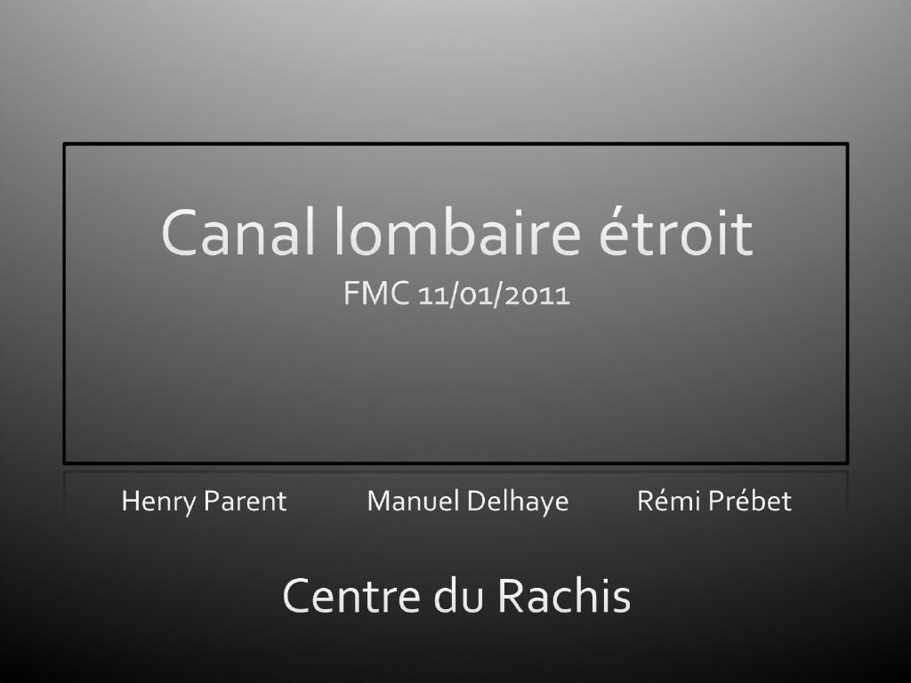 Canal lombaire étroit .PDF
