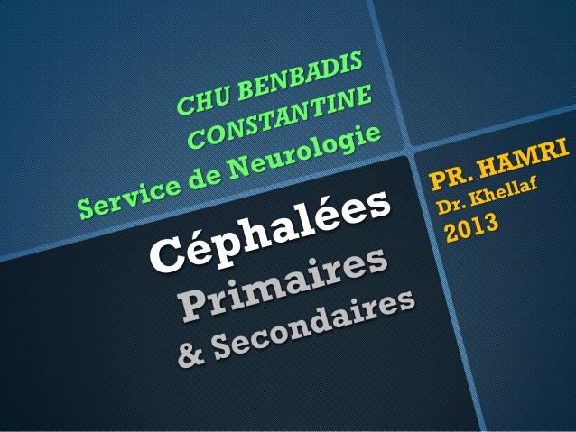 Céphalées primaires et secondaires .PDF
