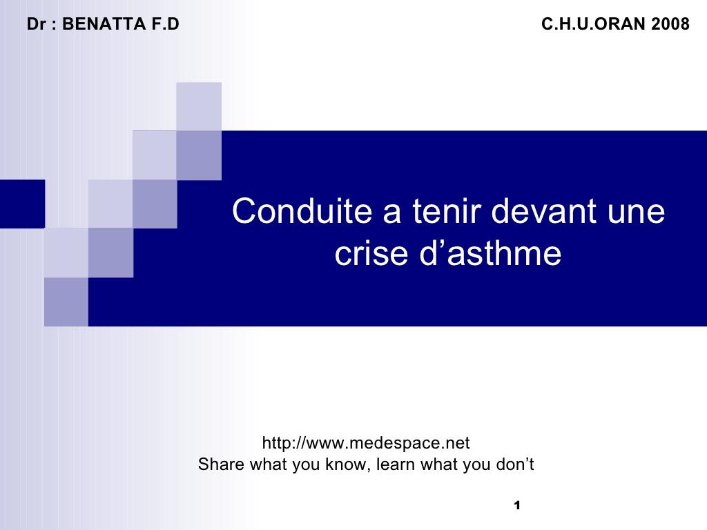 Conduite a tenir devant une crise d'asthme .PDF