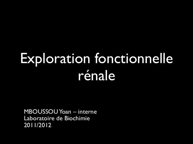 Exploration de la fonction rénale .PDF