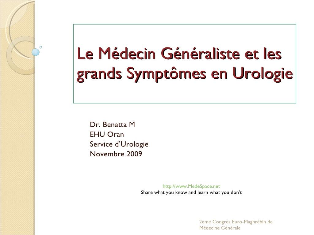 Le Médecin Généraliste et les grands Symptômes en Urologie .PDF