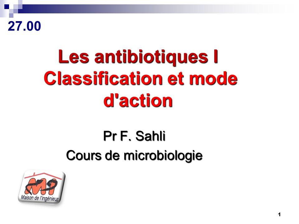 Les antibiotiques I Classification et mode d'action .PDF