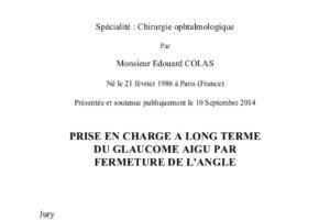 Prise en charge à long terme du glaucome aigu par fermeture de l'angle .PDF