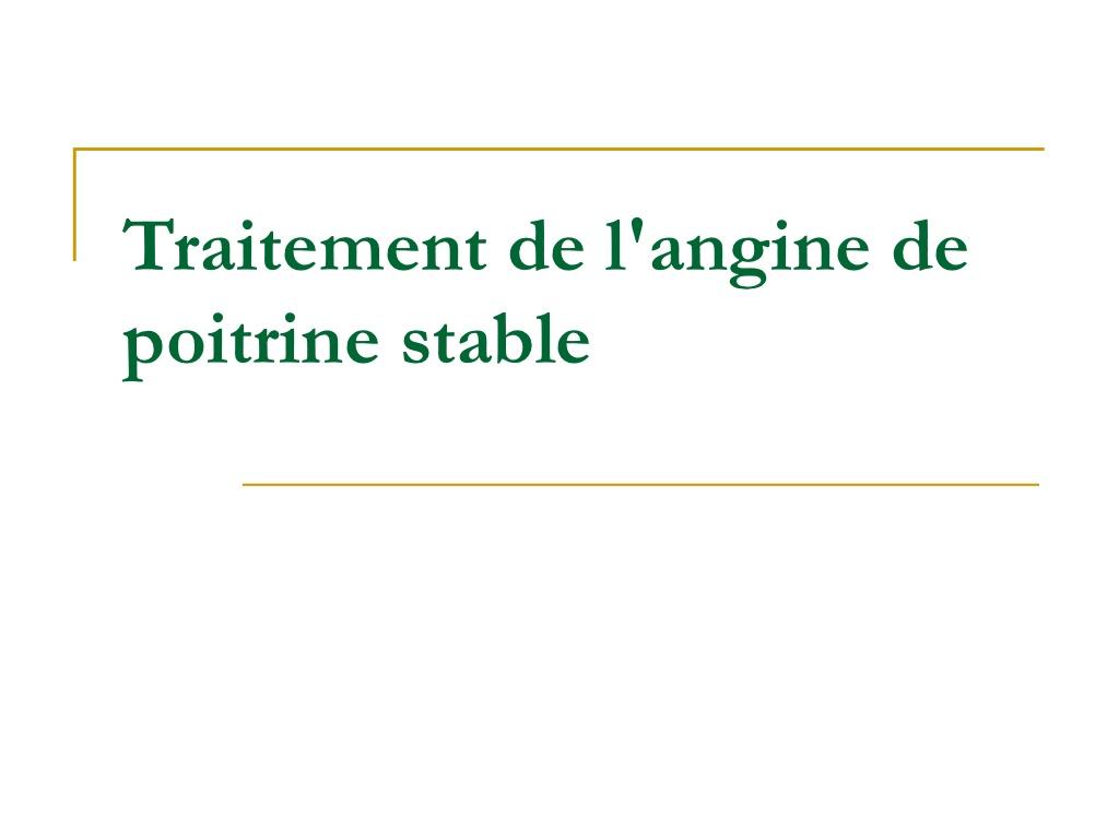 Traitement de l'angine de poitrine stable .PDF