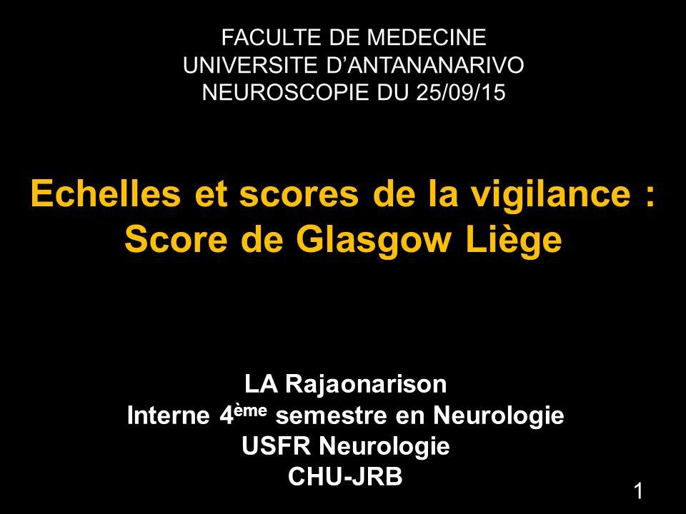 Echelles et scores de la vigilance : Score de Glasgow Liège .PDF