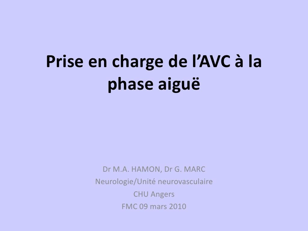 Prise En Charge de l'AVC à La Phase Aiguë .PDF