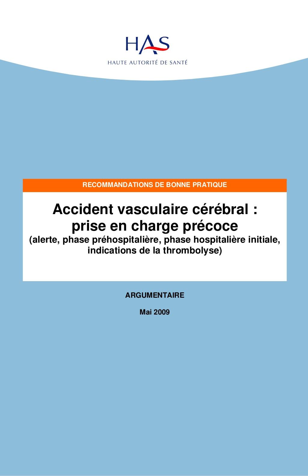 Accident vasculaire cérébral prise en charge précoce .PDF