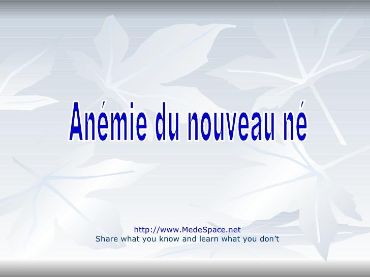 Anémie du nouveau né .PDF