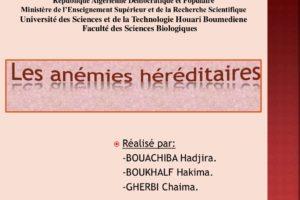 Anémie héréditaire drépanocytose et thalassémie