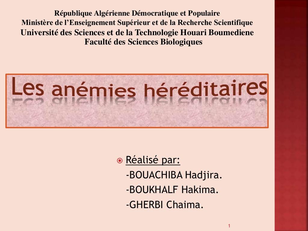 Anémie héréditaire drépanocytose et thalassémie .PDF