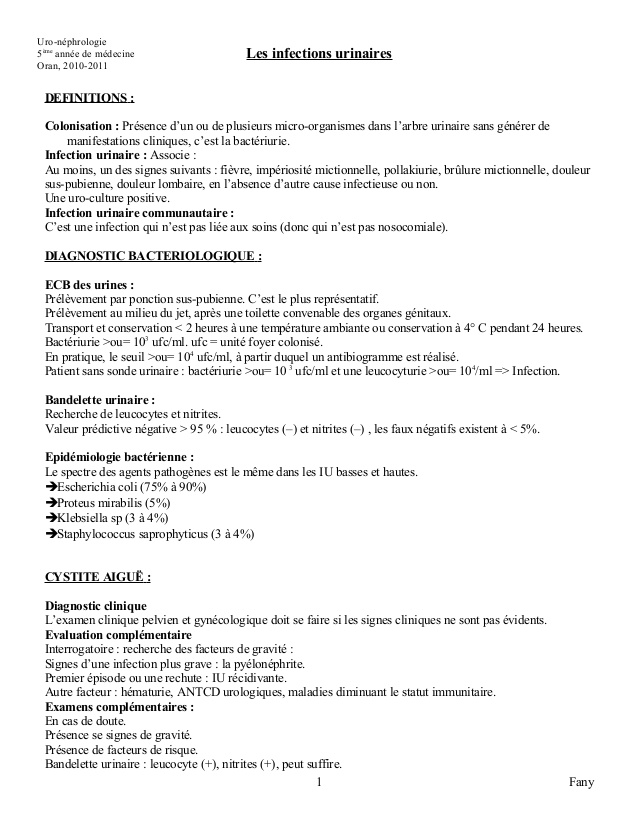 Cours de l'infection urinaire .PDF