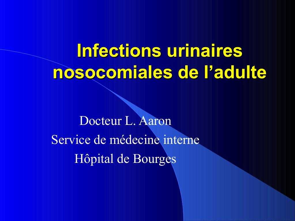Infections urinaires nosocomiales de l'adulte .PDF