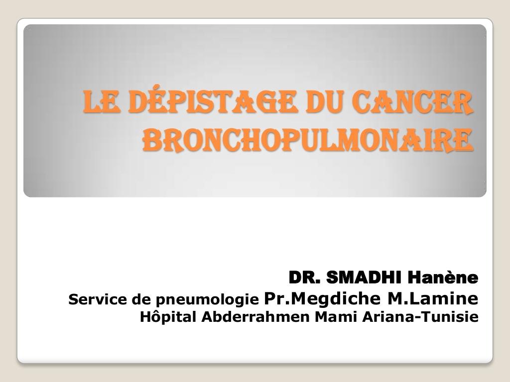 Le dépistage du cancer bronchopulmonaire .PDF