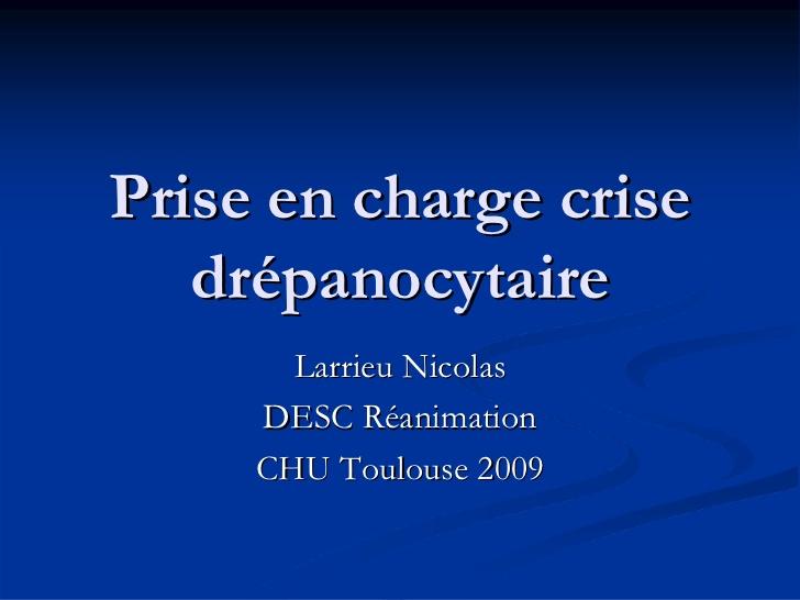 Prise en charge de la crise drepanocytaire .PDF