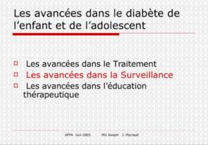 Les avancées dans le diabète de l'enfant et de l'adolescent