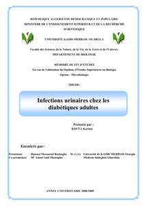 Infections urinaires chez les diabétiques adultes .PDF