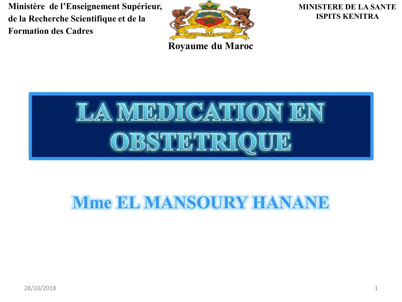 LA MÉDICATION EN OBSTÉTRIQUE .PDF