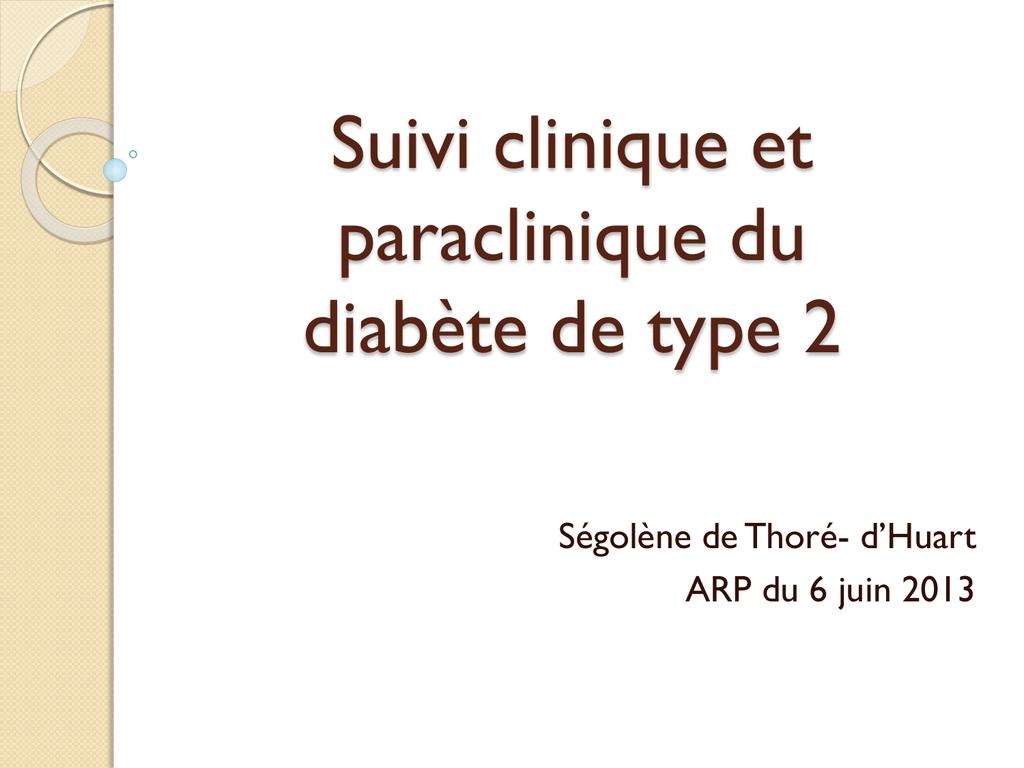 Suivi clinique et paraclinique du diabète de type 2